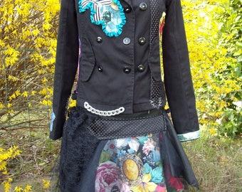 "Set jacket and skirt unique and original ""JUNGLE ROCK"""