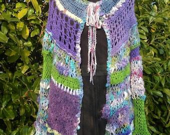 """Vest, jacket original """"Butterfly"""" hand spun wool."""