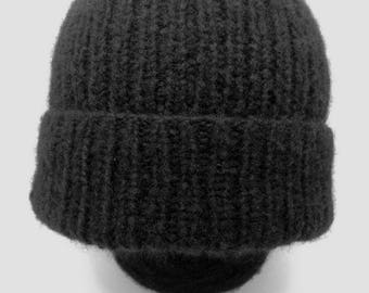Cashmere Hat Beanie Black Hat - Slouchy Hat Ski clothing 100% Cashmere ribbed-knit beanie with foldover cuff - Slouchy knit Beanie