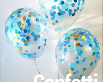 Confetti Balloons  - Blue Confetti Party... 3 Different sizes to choose from 30cm , 43cm and Jumbo 90cm