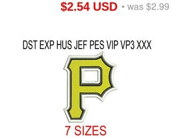 TODAY SALE 15% Pittsburgh Pirates embroidery design logo / embroidery designs / INSTANT download machine embroidery pattern