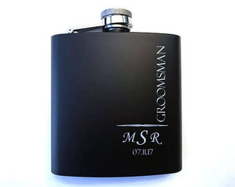 Groomsman Monogrammed Flask - Groomsmen's Flasks - Groomsman Flasks - Groomsmen Gift Idea - Personalized Monogrammed Flasks
