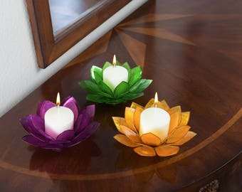 Gift Set 3-Piece Lotus Flower Capiz Shell Candle Holders - Special Value Pricing