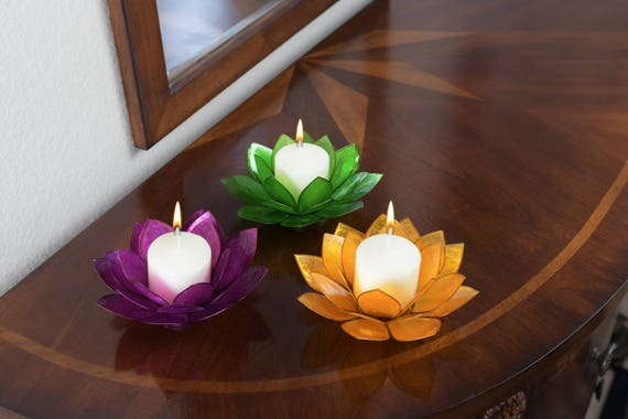 3-Piece Lotus Flower Capiz Shell Candle Holders - Special Value Pricing Gift Set