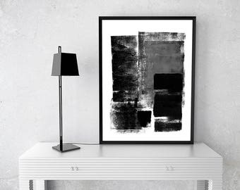Blck and White brush work A, instant download art, abstract,contemporary, wall art, Zen, stroke