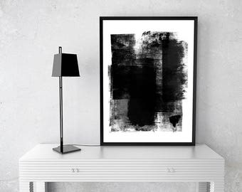 Blck and White brush work B, instant download art, abstract,contemporary, wall art, Zen, stroke