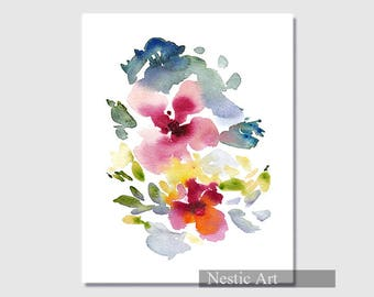 Abstract flower : watercolors, flowers, leaves, floral painting, printable, watercolor brush, gift, contemporary art, abstract art, download