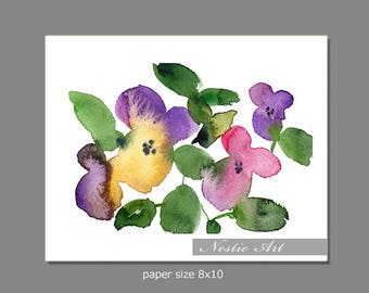 003 Loose flower : pansy, watercolors art, abstract loose flower, colorful, digital instant download, 5x7, 8x10, 11x14, 9x6