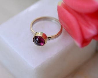 Handmade Pink tourmaline gold and silver ring - Size O