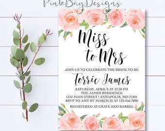 Pink Watercolor Floral Bridal Shower Invitation, Miss To Mrs Invite, Bridal Shower Invitation, Blush Bridal Shower, Floral Shower Invitation