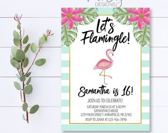 Let's Flamingle Birthday Invitation, Flamingo Invitation, Let's Flamingle, Flamingo Birthday, Summer Party Invitation, Girl Birthday Invite