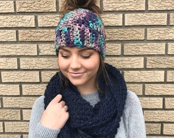 Crochet Messy Bun Beanie, Ponytail Beanie