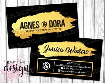 Agnes and Dora Business Cards, Agnes & Dora Marketing / Branding Business Card, Black Gold Foil, Custom Personalized Agnes Dora, PRINTABLE