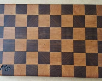Cherry and Black Walnut end grain cutting board