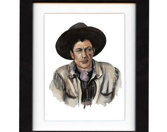 art, gary cooper, art print, print, ranch, cowboy art, cowboy, gift, hat, old,  western, decor, wall art, portrait, famous, saltwatercolors