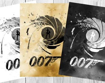 James Bond Poster 007 Poster Art  Print Wall Decor Instant Digital Download
