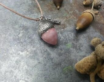 marbled pink ceramic Acorn pendant