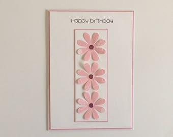 Daisy birthday card, flower birthday card, floral card, flower card, daisy card, simple birthday card, birthday card for her, blank card