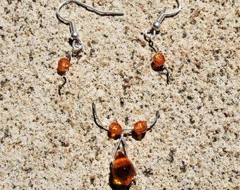 Amber Pendant and Earrings