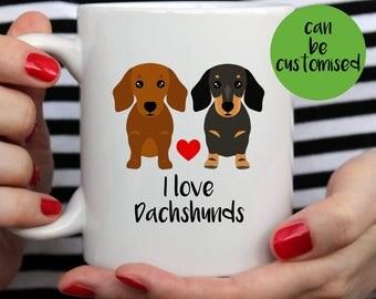 Dachshund Mug | Double Trouble | Partners In Crime | I Love Dachshunds Mug | Cute Mug | Dog Mug | Doxie Mug | Wiener Mug | Dachshund Gift |