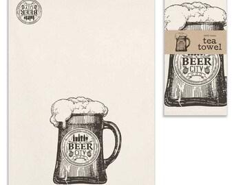 Set of Four Beer City Tea Towels-Fun Tea Towels-Beer City Tea Towels-Beer City-Tea Towels-Rustic Tea Towels-Farmhouse Decor-Gift
