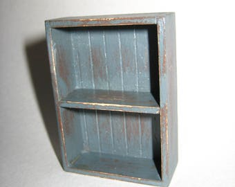 Dollhouse Miniature Handmade Open Country Cupboard Distressed 1:12 Scale