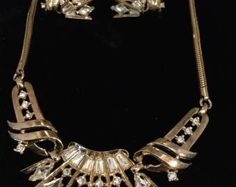 """CROWN TRIFARI Necklace and Earrings  with """"Diamonds"""""""