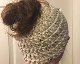Crochet ponytail or messy bun hat