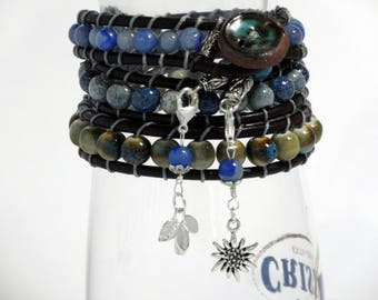 Triple wrap bracelet /blue brown ceramic beads and dark chocolate brown leather lacing, silver sunflower,leaf dangles
