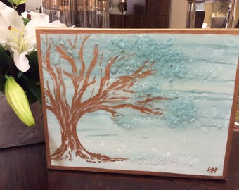 Mixed Media Tree Accented with Gold Leaf & Glass - Free Shipping
