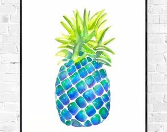 Original painting-watercolor painting-fruit-pineapple pineapple fruit art-kitchen art-girls room art-blue art-colorful art-wall art-gift for her