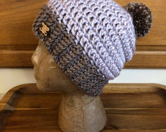 Handmade Crocheted Hat with Pompom, Crocheted Pompom beanie, Chunky brown hat