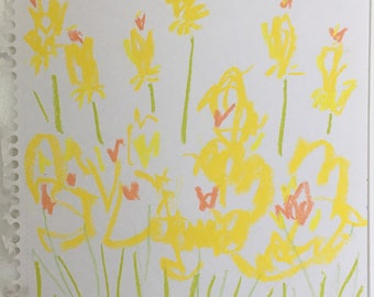 Yellow flower drawing abstract on paper