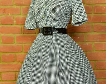 1950's vintage original dress black and white