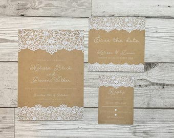 Vintage wedding invites - rustic wedding invitations - wedding stationery - lace wedding
