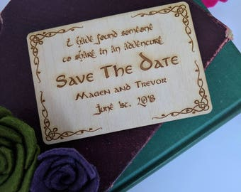 Wood Save the Date-The Hobbit-I have found someone to share in an adventure {Bilbo Baggins, JRR Tolkien,Geek Wedding, Nerd Wedding }