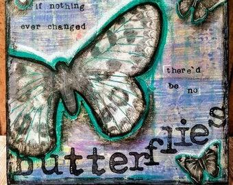 Butterflies Original Mixed Media Art on Wood