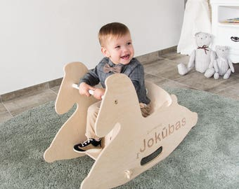Wooden rocking horse etsy personalized wooden rocking horse wooden horse wooden animal toys baby shower gift negle Image collections