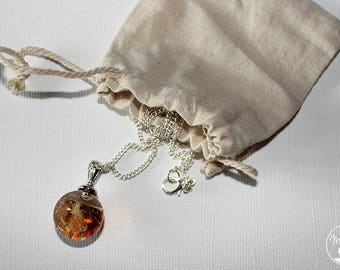 Bubble resin necklace inlaid with semi precious citrine gemstones