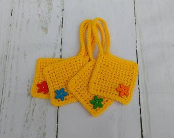 Bright yellow crochet cotton suitcase luggage tags / travel accessories
