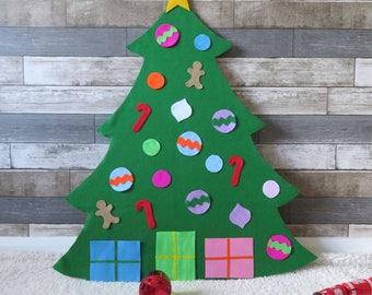 Felt christmas tree handmade door wall hanging decoration children toddler kids fun decorate