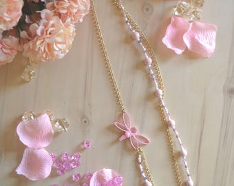 Long necklace and pink Dragonfly