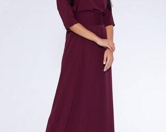 Burgundy long dress.3\4 sleeve high waist evening dress.