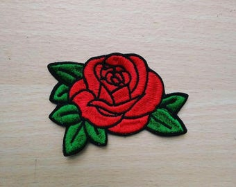 Rose patch, Iron-on / Sew-on, Rayon Patch, Embroidered Patches Applique Embroidery • Surreal Art Trash Punk Rock Hippie Street