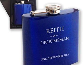 Personalised engraved GROOMSMAN hip flask WEDDING gift idea, blue reflective stainless steel presentation box - RET2
