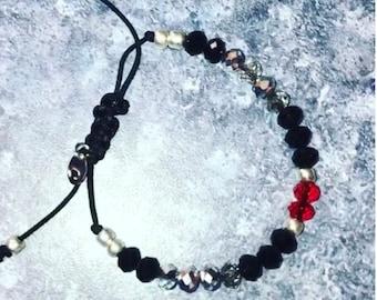 Black & Red Crystal Bracelet