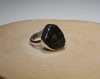 Sterling Silver Moldavite Ring Handmade in The US