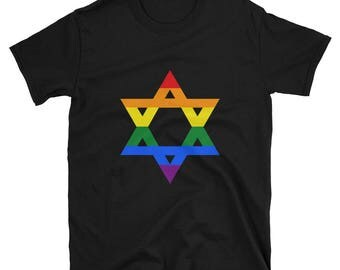 Rainbow Pride Star of David Unisex T-Shirt