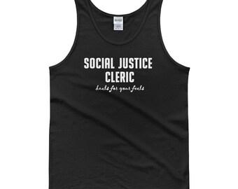 Social Justice Cleric Unisex  tank top D&D nerd geeky SJW politics