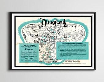 "Vintage 1955 DISNEYLAND Park Map Poster! (24"" x 36"") - Opening Year - Fantasyland - Tomorrowland - Frontierland - Adventureland - Disney"